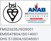 FM523235/ISO9001|EMS547804/ISO14001|OHS 510904/ISO45001